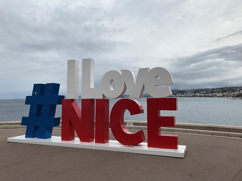 Nizza, Côte d'Azur, Frankreich, Promenade des Anglais, I love Nice